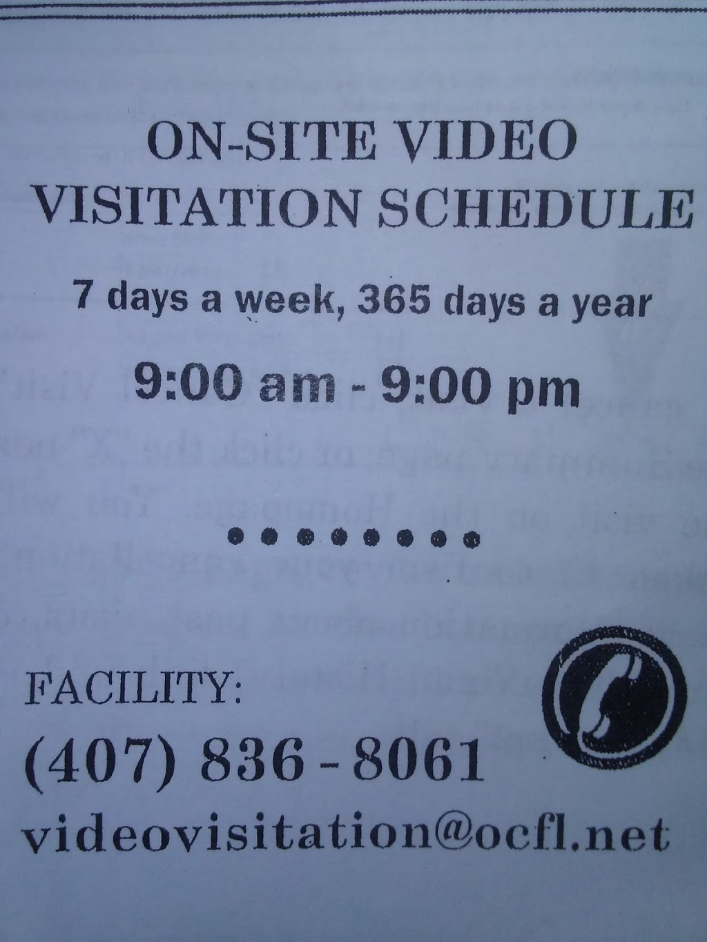 Womans Detention Center - Visitation Center - point of interest    Photo 2 of 2   Address: 3855 S John Young Pkwy, Orlando, FL 32839, USA   Phone: (407) 836-3400